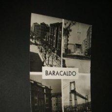 Postales: BARACALDO VIZCAYA CALLE DE LOS FUEROS MONUMENTO PLAZA ESPAÑA Y EL PUENTE. Lote 43818739