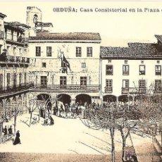Postales: POSTAL, ORDUÑA, CASA CONSISTORIAL Y PLAZA DE FUEROS, VIZCAYA, SIN CIRCULAR, POSTAL FREE. Lote 219183375