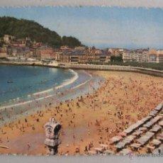 Postales: POSTAL DE SAN SEBASTIAN - PLAYA DE LA CONCHA (CIRCULADA 1957, SIN SELLO, FOTOCOLOR). Lote 44086232