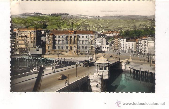 POSTAL DE BILBAO PUENTE DEL GENERAL MOLA Y AYUNTAMIENTO . (Postales - España - País Vasco Moderna (desde 1940))