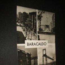 Postales: BARACALDO VIZCAYA CALLE DE LOS FUEROS MONUMENTO PLAZA ESPAÑA Y EL PUENTE. Lote 44272160