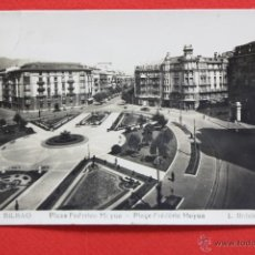 Postales: ANTIGUA FOTO POSTAL DE BILBAO. VIZCAYA. PLAZA FEDERICO MOYUA. FOT. L. ROISIN. CIRCULADA. Lote 45144226