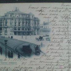 Postales: POSTAL DE BILBAO, TEATRO ARRIAGA. CIRCULADA CON SELLO PELON ALFONSO XIII. Lote 45245671