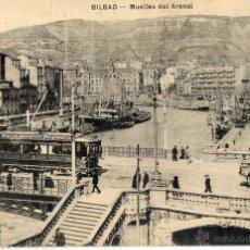 Postales: POSTAL ANTIGUA-BILBAO -MUELLES DEL ARENAL. Lote 45536596