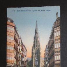 Postales: ANTIGUA POSTAL DE SAN SEBASTIAN. IGLESIA DEL BUEN PASTOR. ED. MAYOR HERMANOS. ESCRITA. Lote 45938454