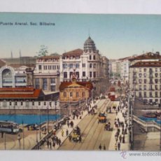 Postales: POSTAL COLOREADA BILBAO, - PUENTE ARENAL. Lote 45979587