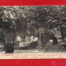Postales: VITORIA. FABRICA DE CERVEZA KNORR. JARDINES. Lote 46225763
