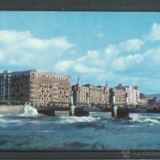 Postales: POSTAL DE SAN SEBASTIAN - PUENTE DEL KURSAL- MAR GRUESA - SIN CIRCULAR AÑOS 60 FOTO GALARZA. Lote 46326613