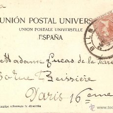 Postales: RECUERDO DE BILBAO CAMPO VOLANTIN CIRCULADA EN 1900 CON SELLO DEL PELON. Lote 46975587