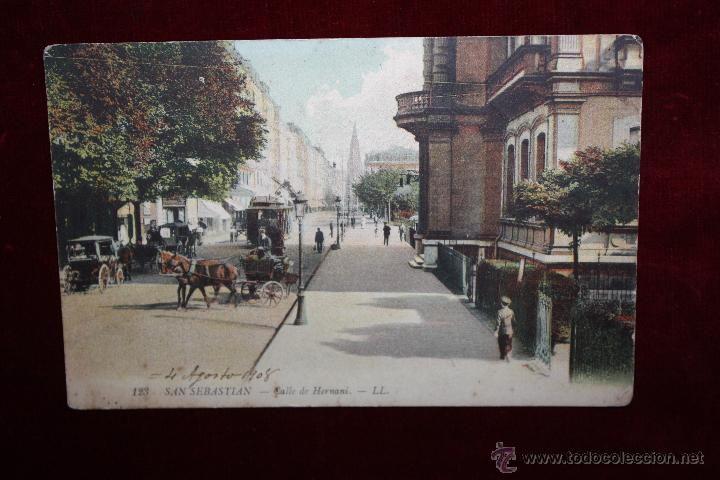 ANTIGUA POSTAL DE SAN SEBASTIAN - CALLE DE HERNANI. CIRCULADA (Postales - España - Pais Vasco Antigua (hasta 1939))