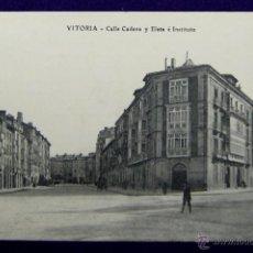 Postales: POSTAL DE VITORIA (ALAVA). CALLE CADENA Y ELETA E INSTITUTO. EDITADA POR E.J.G. 1908. Lote 48221386