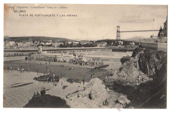 TARJETA POSTAL BILBAO. PLAYA DE PORTUGALETE Y LAS ARENAS. Nº 1042. LANDABURU HERMANAS. CIRCA 1930 (Postales - España - Pais Vasco Antigua (hasta 1939))