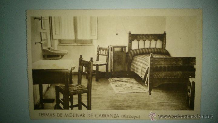 ANTIGUA POSTAL DE LAS TERMAS DE MOLINER, CARRANZA (VIZCAYA). UNA HABITACION. (Postales - España - Pais Vasco Antigua (hasta 1939))
