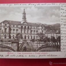Postales: POSTAL DE BILBAO CASA AYUNTAMIENTO Y PUENTE GIRATORIO, Nº 10 JOSÉ CRUZ DE GORBEA, 26 ARENAL. Lote 48391882