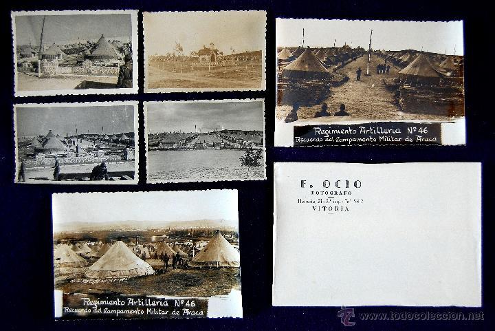 6 FOTOS DEL REGIMIENTO ARTILLERIA Nº46. CAMPAMENTO DE ARACA, VITORIA (ALAVA). F.OCIO. SOBRE ORIGINAL (Postales - España - País Vasco Moderna (desde 1940))