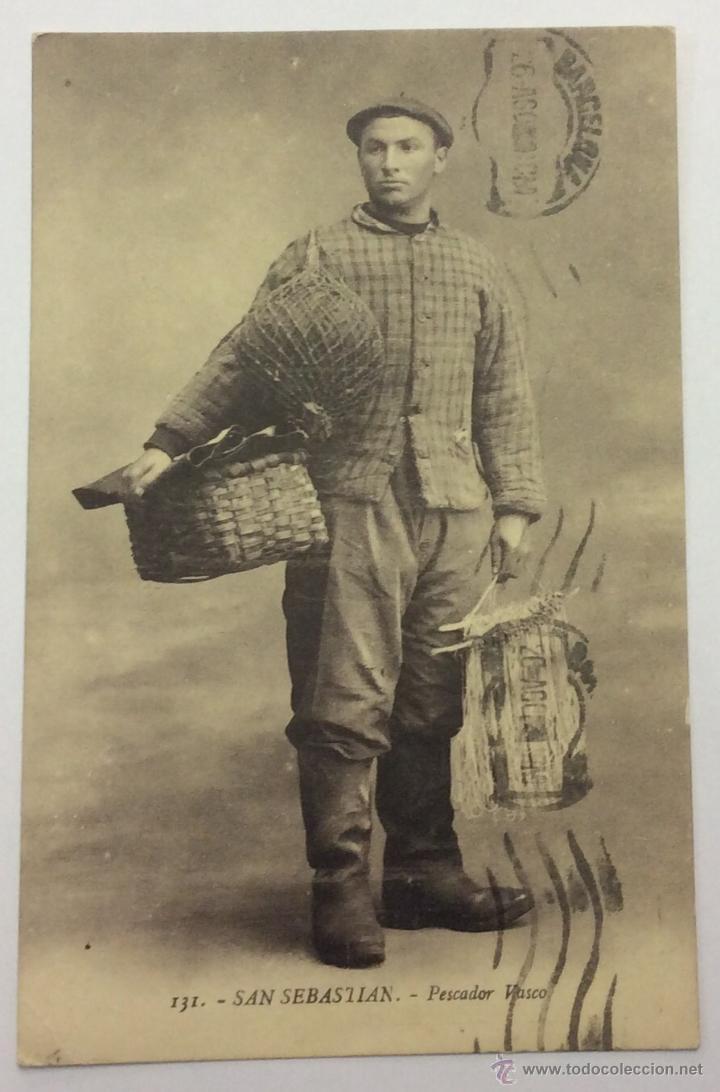 SAN SEBASTIAN. PESCADOR VASCO. Nº 131. CIRCULADA 1929. (Postales - España - Pais Vasco Antigua (hasta 1939))