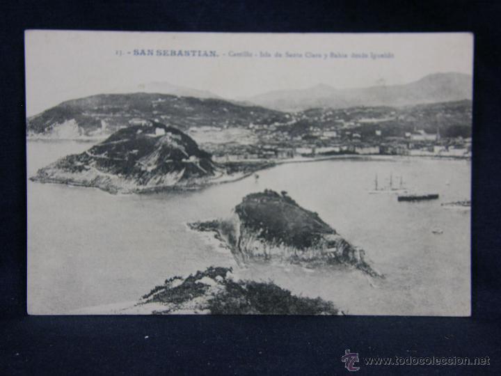 POSTAL SAN SEBASTIAN 23 CASTILLO CLARA BAHIA IGUELDO DIVIDIDA NO CIRCULADA ED. G. G. GALARZA (Postales - España - Pais Vasco Antigua (hasta 1939))