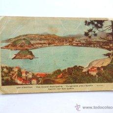 Postales: SAN SEBASTIAN / VISTA GENERAL DESDE IGUELDO / LIT. UREZBEA - RENTERIA / MANIPEL. Lote 49881175