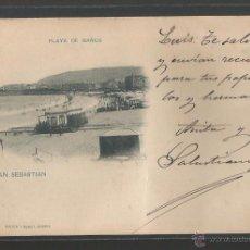 Postales: DONOSTIA - SAN SEBASTIAN -CIRCULADA 1900 PELON - HAUSER T MENET 76 - PLAYA DE BAÑOS - P8711. Lote 49921572