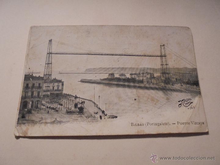 BILBAO ( PORTUGALETE ) PUENTE VIZCAYA - NADAL PARISA160 -14X9 CM. (Postales - España - Pais Vasco Antigua (hasta 1939))
