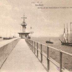 Postales: BILBAO Nº1073 MUELLE DE CHURRUCA Y FARO DE PORTUGALETE M.A. CIRCULADA VER SELLO. Lote 53583650