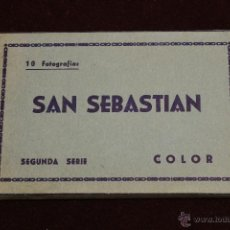 Postales: SAN SEBASTIAN, 10 FOTOGRAFIAS 2ª SERIE COLOR 1960. Lote 53753592
