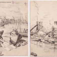 Cartoline: P- 4033. PAREJA DE POSTALES DIBUJADAS DE BILBAO. LUIS DE LERCHUNDI.. Lote 53903747