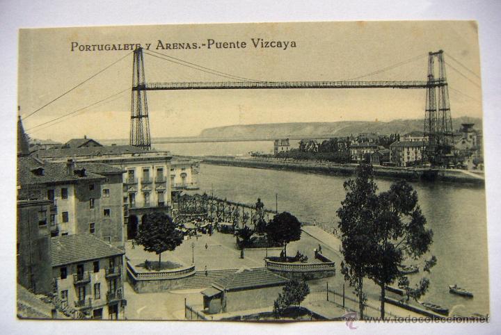 POSTAL DE VIZCAYA, PORTUGALETE Y ARENAS, PUENTE VIZCAYA, EDIC L.G.BILBAO NUEVA (Postales - España - Pais Vasco Antigua (hasta 1939))
