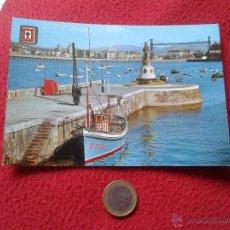 Postales: TARJETA POSTAL POST CARD 8 SANTURCE VIZCAYA EUSKADI MONUMENTO A LA VIRGEN DEL CARMEN. ESCUDO DE ORO . Lote 54424887
