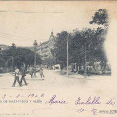 Postales: POSTAL DE BILBAO, ALAMEDA DE MAZARREDO Y ALBÍA. LANDABURU HERMANAS. CIRCULADA EN 1902. Lote 54655510