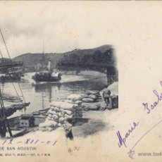 Postales: POSTAL DE BILBAO, PUENTE DE SAN AGUSTIN. LANDABURU HERMANAS. CIRCULADA A ITALIA 1901. Lote 54656488