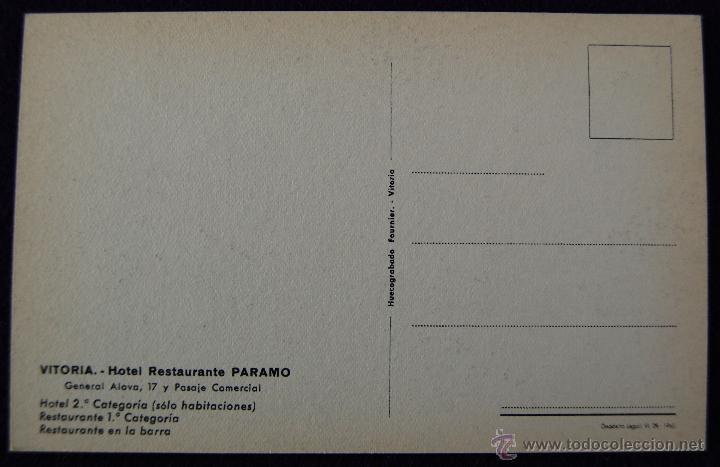 Postales: POSTAL DE VITORIA (ALAVA). HOTEL RESTAURANTE PARAMO, COMEDOR. EDICIÓN HUECOGRABADO FOURNIER. AÑOS 50 - Foto 2 - 54760215