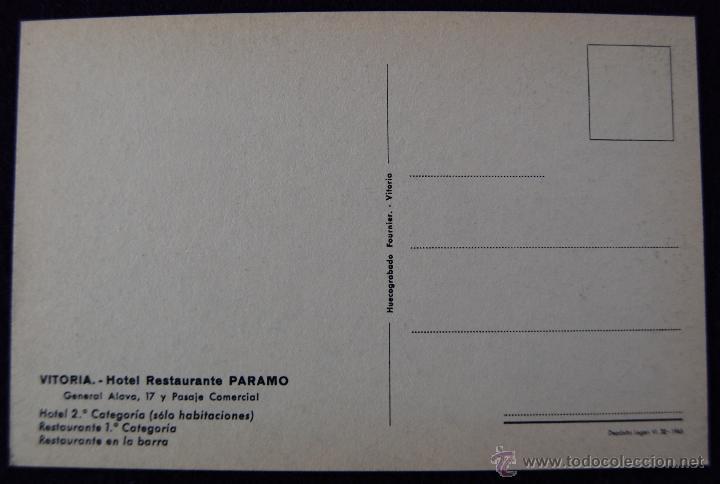Postales: POSTAL DE VITORIA (ALAVA). HOTEL RESTAURANTE PARAMO, COMEDOR. EDICIÓN HUECOGRABADO FOURNIER. AÑOS 50 - Foto 2 - 54760258