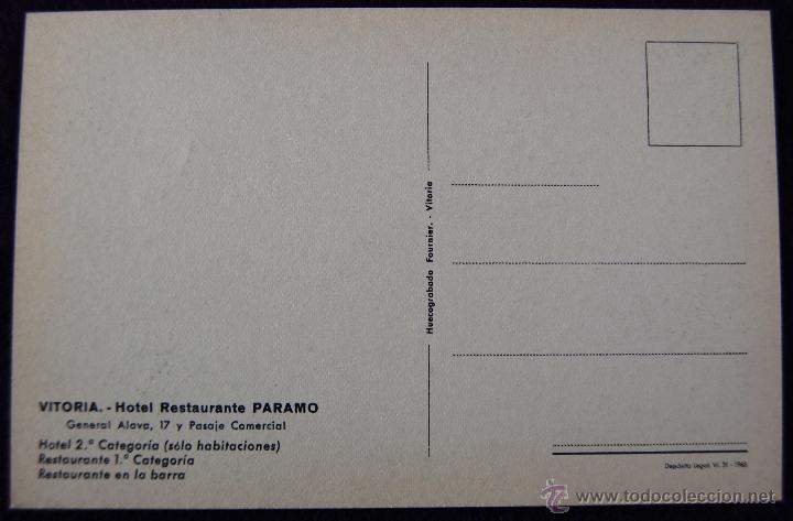 Postales: POSTAL DE VITORIA (ALAVA). HOTEL RESTAURANTE PARAMO, COMEDOR. EDICIÓN HUECOGRABADO FOURNIER. AÑOS 50 - Foto 2 - 54760268
