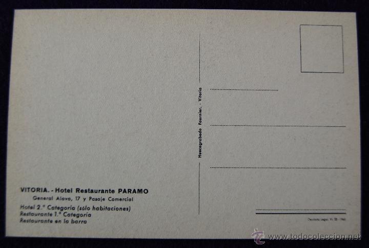 Postales: POSTAL DE VITORIA (ALAVA). HOTEL RESTAURANTE PARAMO, COMEDOR. EDICIÓN HUECOGRABADO FOURNIER. AÑOS 50 - Foto 2 - 54760289