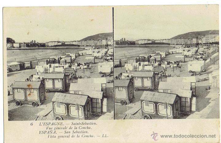 PS6036 SAN SEBASTIÁN 'VISTA GENERAL DE LA CONCHA'. ESTEROSCÓPICA. LL. SIN CIRCULAR. PRINC. S. XX (Postales - España - Pais Vasco Antigua (hasta 1939))