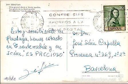 Postales: POSTAL A COLOR SAN SEBASTIAN VISTA GENERAL DESDE EL MONTE IGUELDO ESCRITA 1962 MANIPEL - Foto 2 - 55554961
