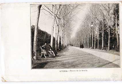 VITORIA PASEO DE LA SENDA REVERSO SIN DIVIDIR. SIGLO XIX. SIN CIRCULAR (Postales - España - Pais Vasco Antigua (hasta 1939))