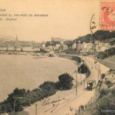 Postales: SAN SEBASTIÁN - VISTA DESDE EL PALACIO DE MIRAMAR- 908 HAUSER Y MENET,SIN DIVIDIR. Lote 55865532