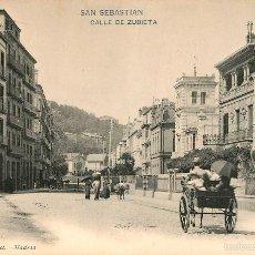 Postales: SAN SEBASTIAN - CALLE DE ZUBIETA - HAUSER Y MENET Nº1487 - REVERSO SIN DIVIDIR ANIMADA. Lote 56329272