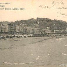 Postales: SAN SEBASTIAN - LA CONCHA DESDE ALDERDI EDER - HAUSER Y MENET Nº899 - REVERSO SIN DIVIDIR CIR 1905. Lote 56329353