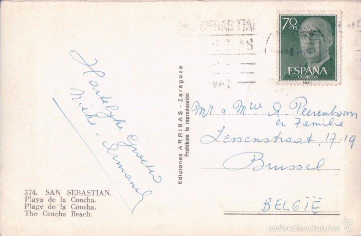 Postales: POSTAL 374-SAN SEBASTIAN-PLAYA DE LA CONCHA.CIRCULADA. Ed.Arribas-Zaragoza - Foto 2 - 56796146