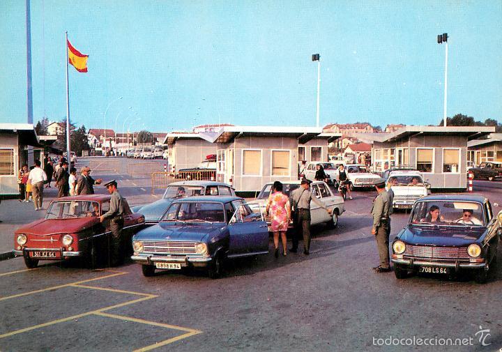 IRUN - PUENTE INTERNACIONAL DE SANTIAGO Y ADUANA 1971 - MANIPEL Nº23 - COCHES (Postales - España - País Vasco Moderna (desde 1940))
