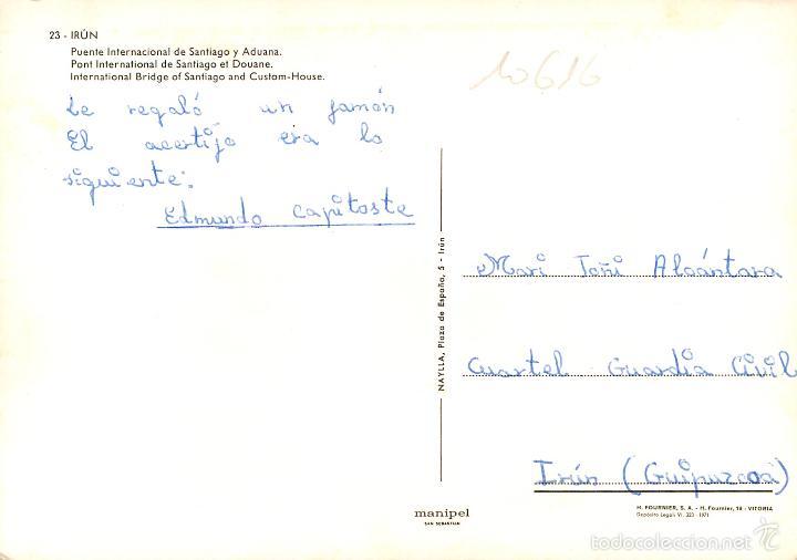 Postales: Irun - Puente Internacional De Santiago Y Aduana 1971 - Manipel Nº23 - coches - Foto 2 - 57303560