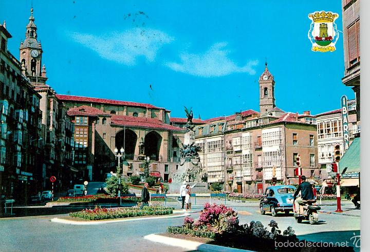 VITORIA - PLAZA DE LA VIRGEN BLANCA 1965 - GARRIDO Nº33 - SEAT 600 VESPA (Postales - España - País Vasco Moderna (desde 1940))