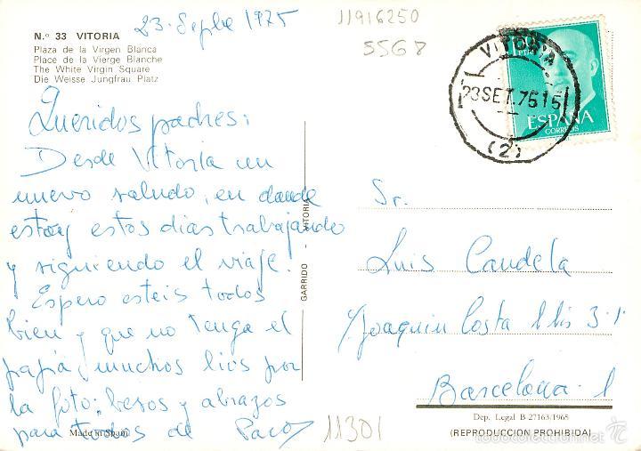 Postales: Vitoria - Plaza De La Virgen Blanca 1965 - Garrido Nº33 - seat 600 vespa - Foto 2 - 57315548