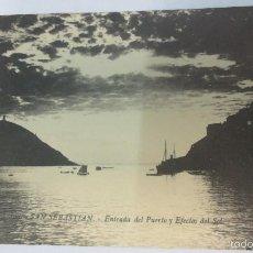 Postales: TARJETA POSTAL SAN SEBASTIAN ENTRADA DEL PUERTO Y EFECTOS DEL SOL . Lote 57525888