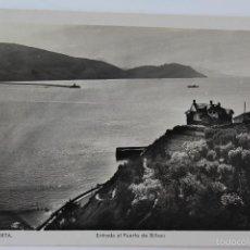 Postales: P-5865. ALGORTA. ENTRADA AL PUERTO DE BILBAO. FOT. L. ROISIN. AÑO 1941. CIRCULADA.. Lote 57528674