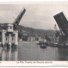 Postales: POSTAL BILBAO LA RIA PUENTE DE DEUSTO ABIERTO VIZCAYA ED. MADYMA N° 103. Lote 57776943