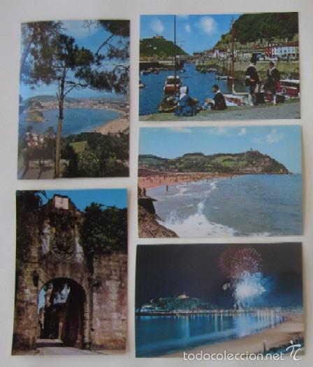 LOTE DE 5 POSTALES DE SAN SEABSTIAN (Postales - España - País Vasco Moderna (desde 1940))